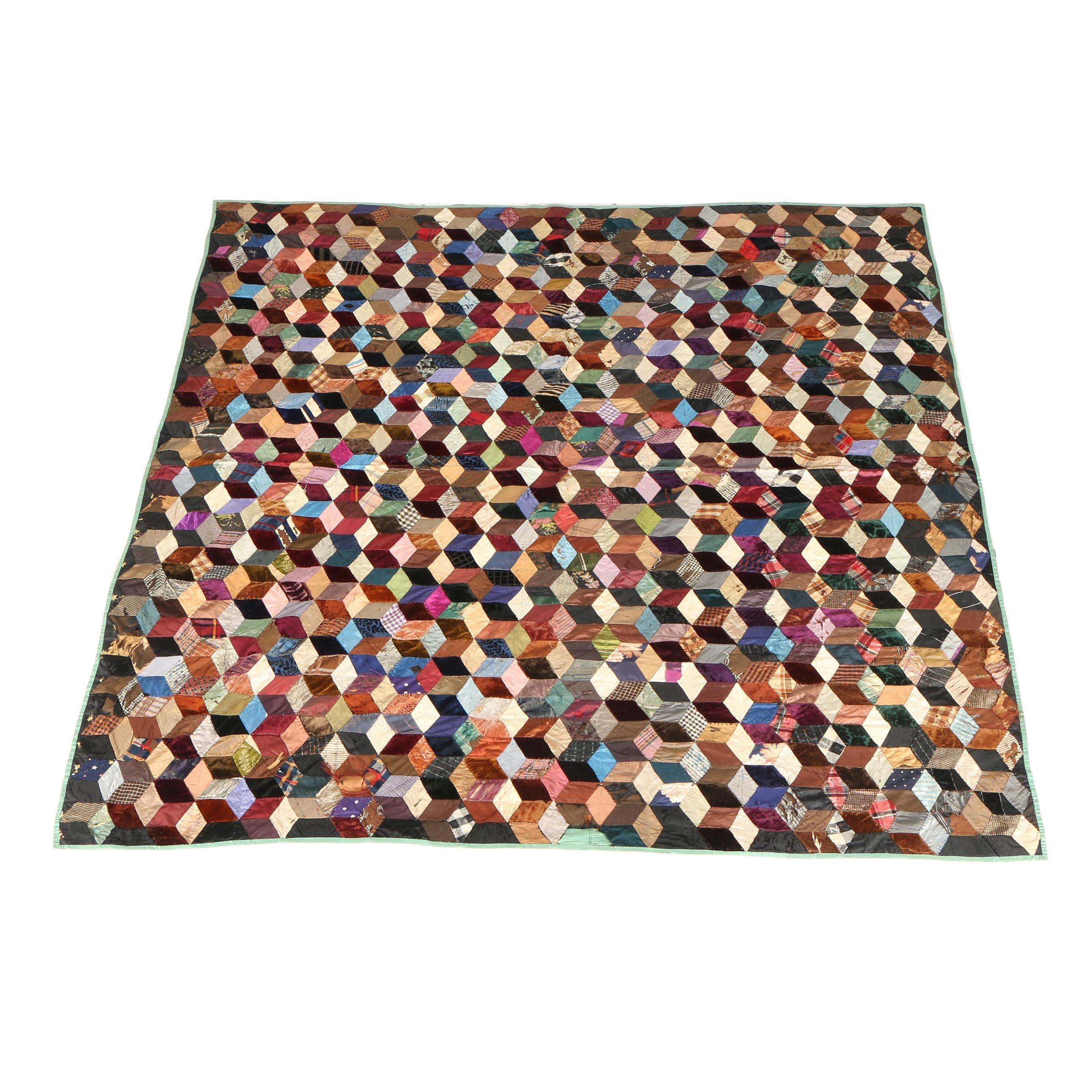 Handmade Tumbling Block Quilt