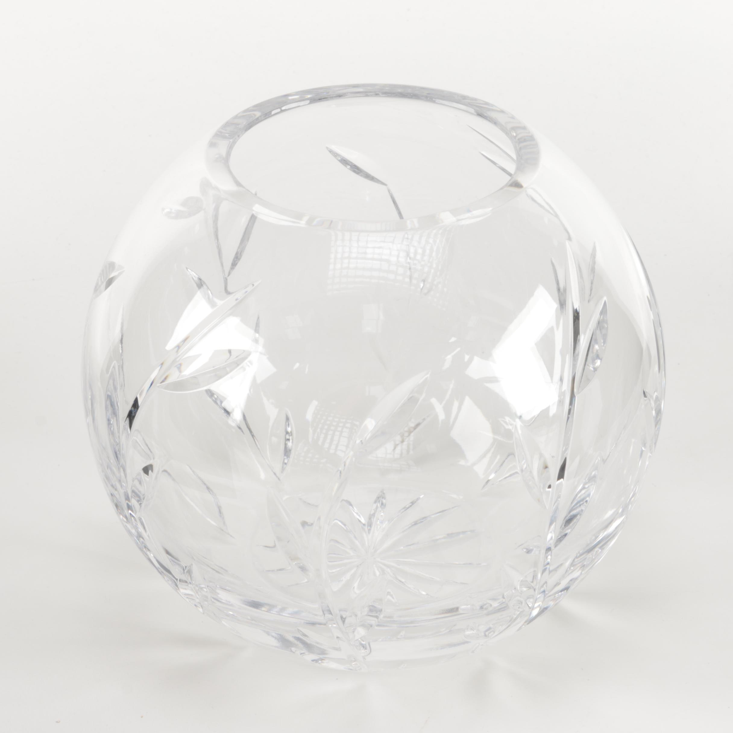Julia Crystalworks Polish Crystal Rose Bowl