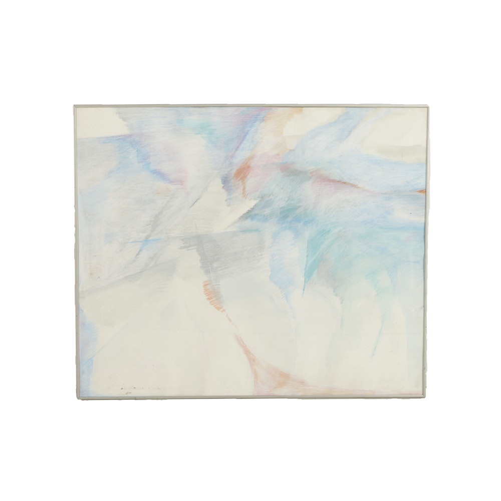 Donald Werner Watercolor Painting on Paper Abstract Composition