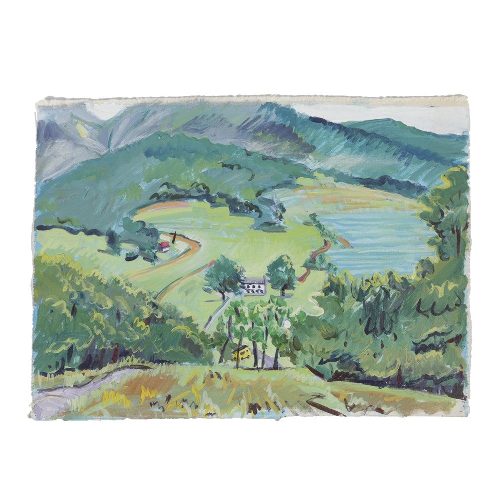 Late 20th-Century Acrylic Painting on Canvas Landscape