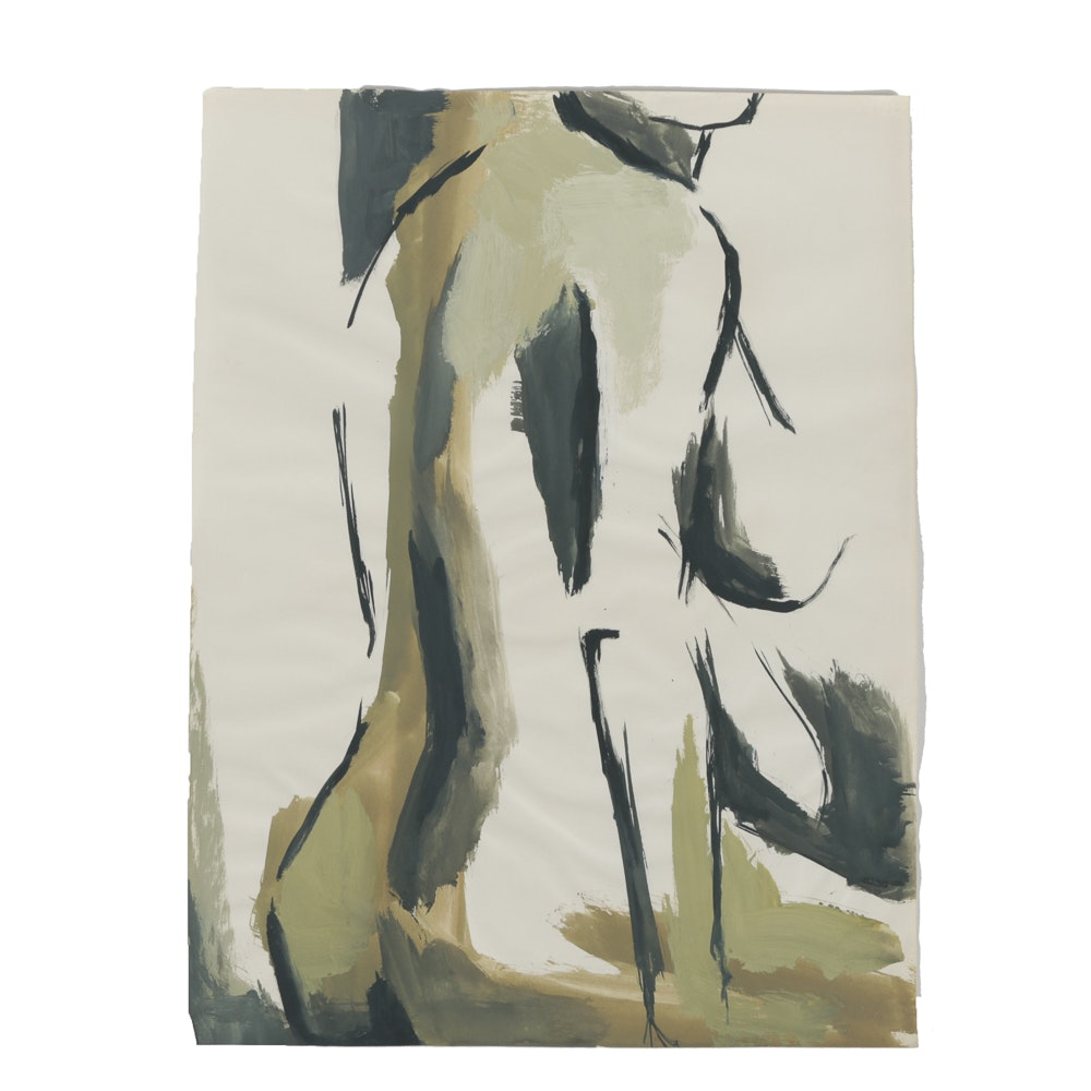 Tempera Painting on Paper Abstract Nude Figure