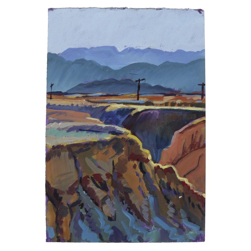 "Late 20th-Century Acrylic Painting on Paper""...Salton Sea Desert"""