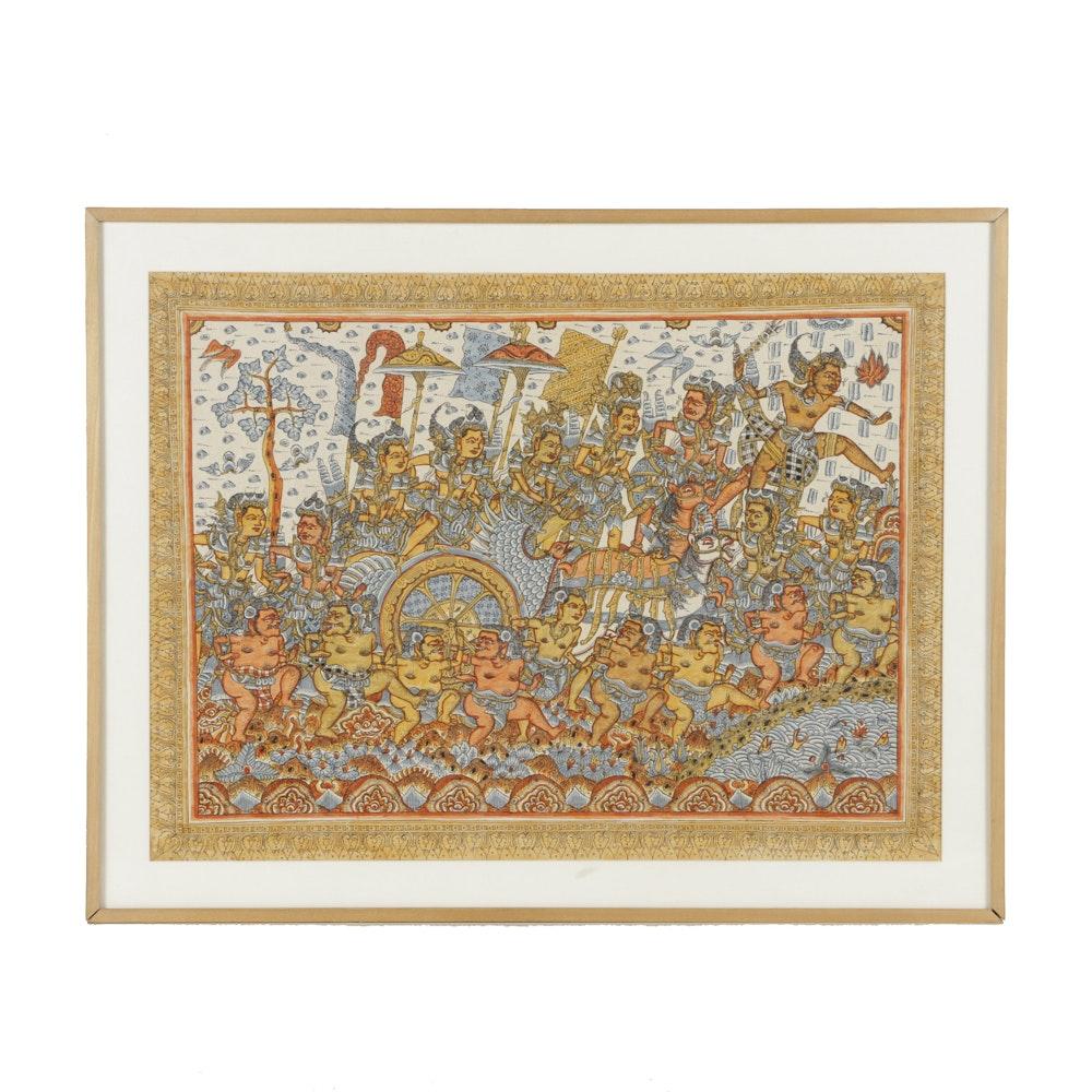Watercolor on Silk East Asian Scene