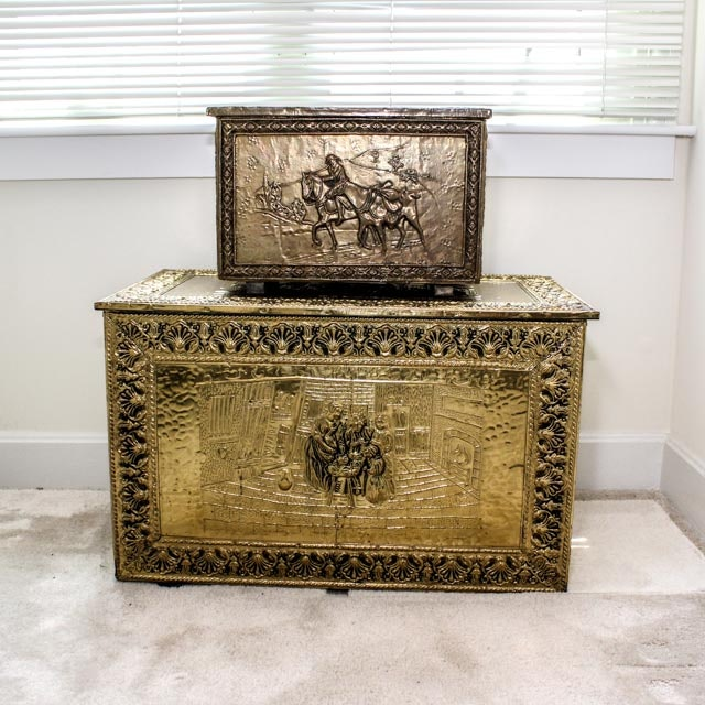 English Handmade Hammered Brass Covered Chests