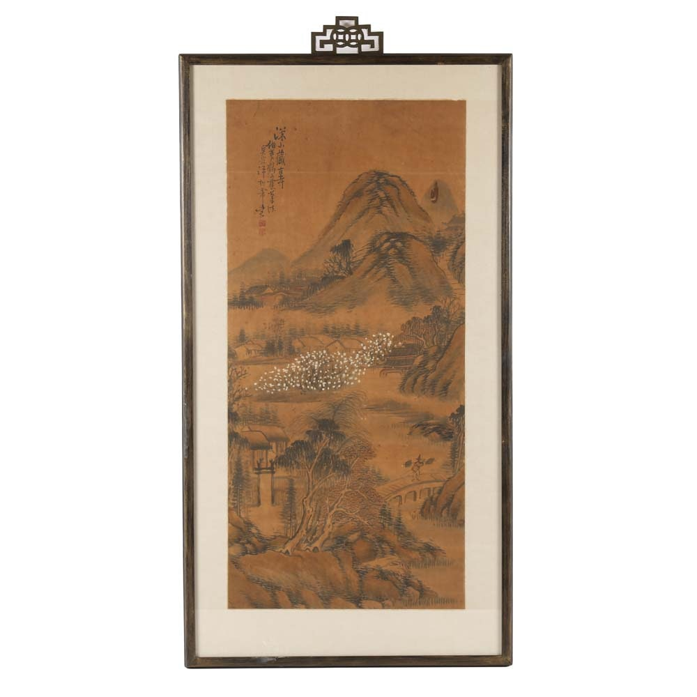 Framed Chinese Hand Painted Landscape Painting