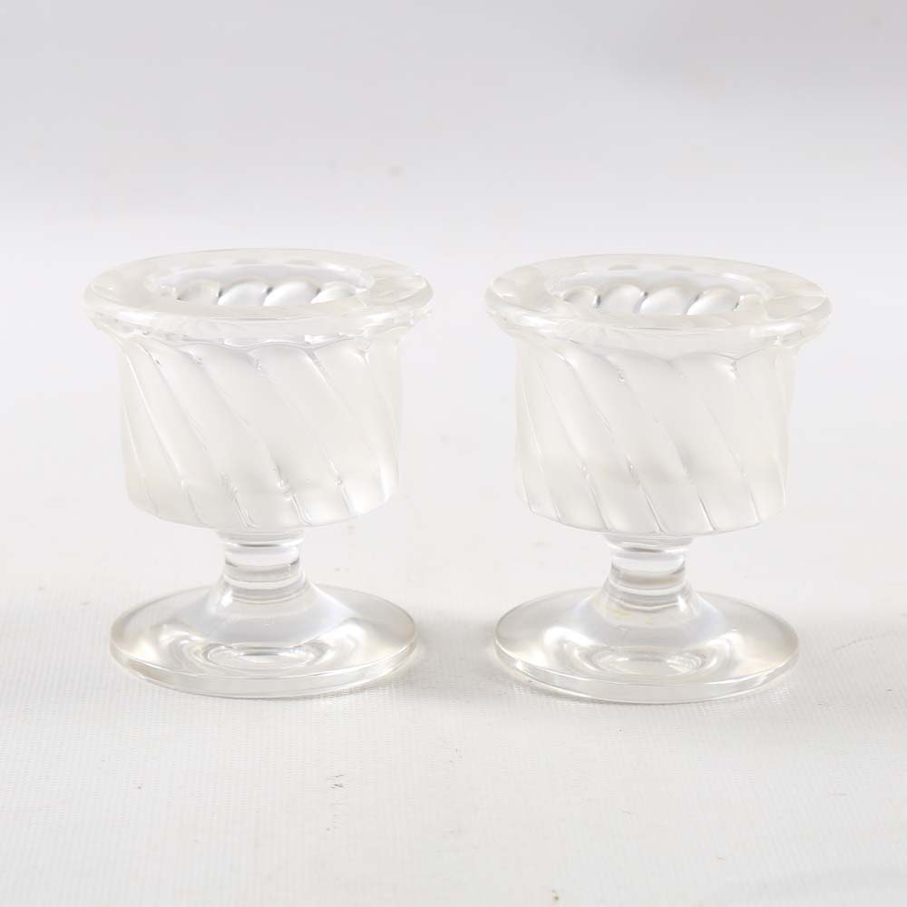 Lalique Crystal Swirl Votive Holders