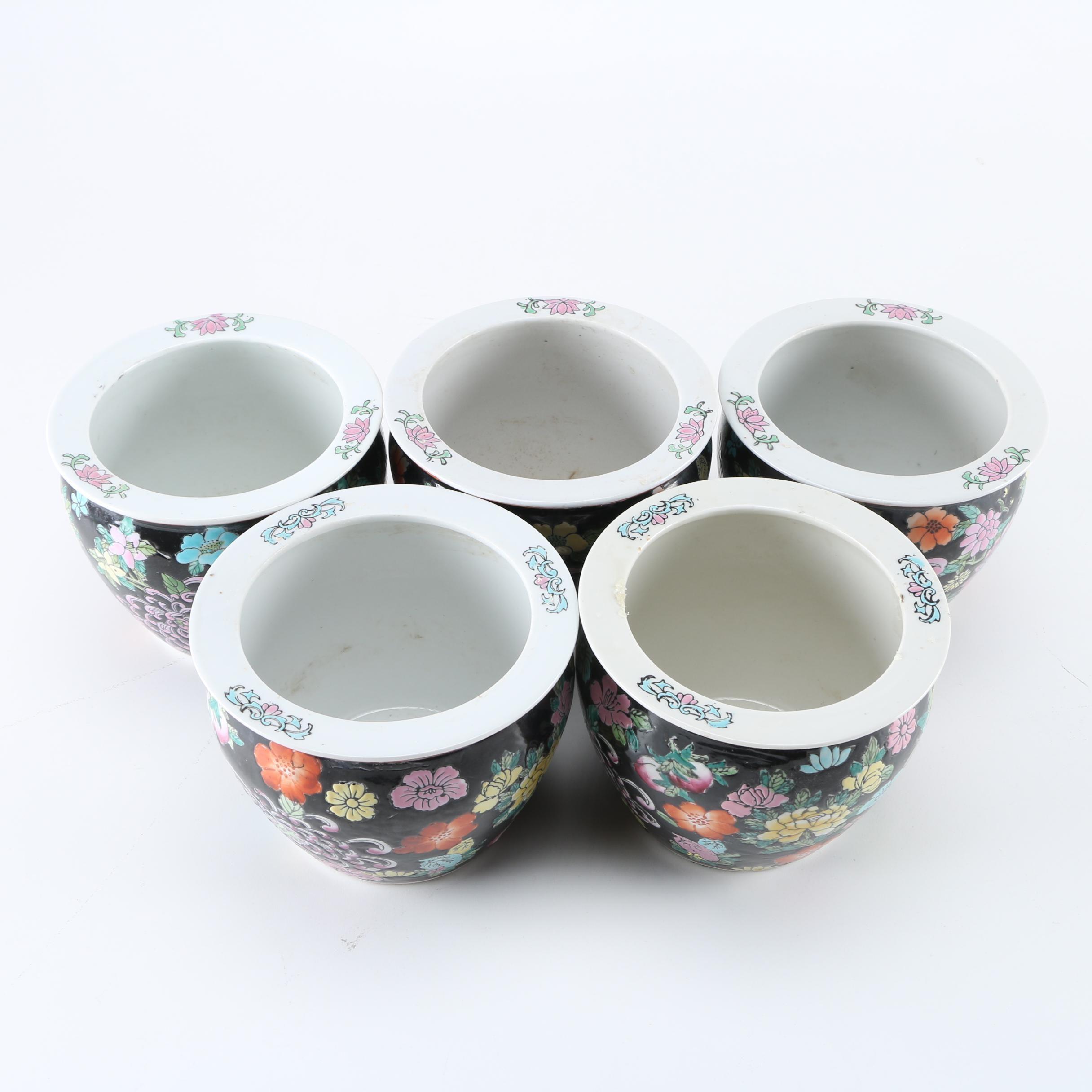 Set of Five Porcelain Famille Noire Style Planters