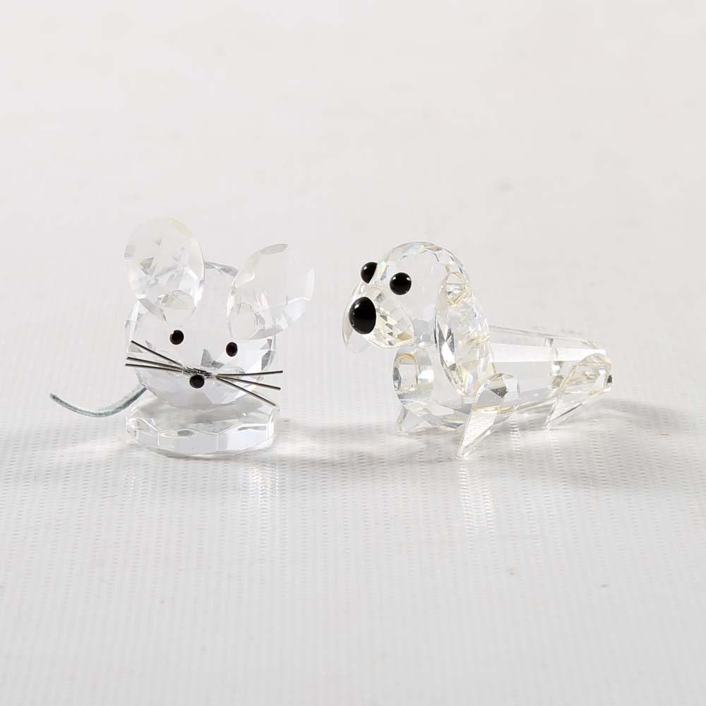 Swarovski Crystal Mouse and Dog Figurines