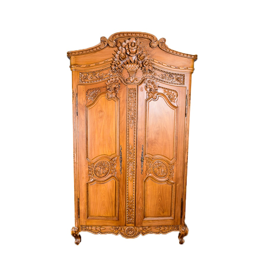 louis xv style carved armoire ebth. Black Bedroom Furniture Sets. Home Design Ideas