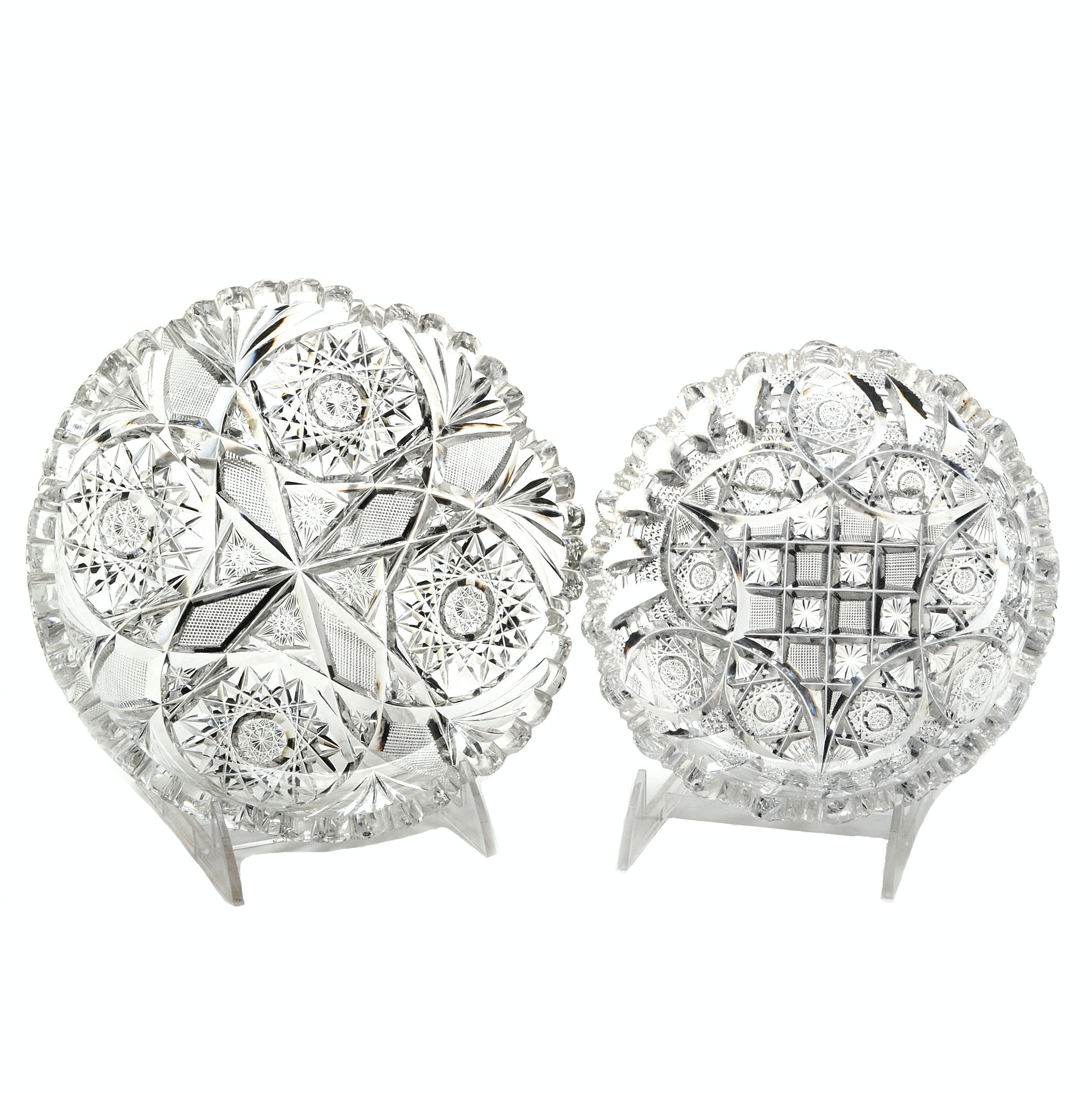 Two American Brilliant Period Cut Glass Libbey Bon-Bon Dishes