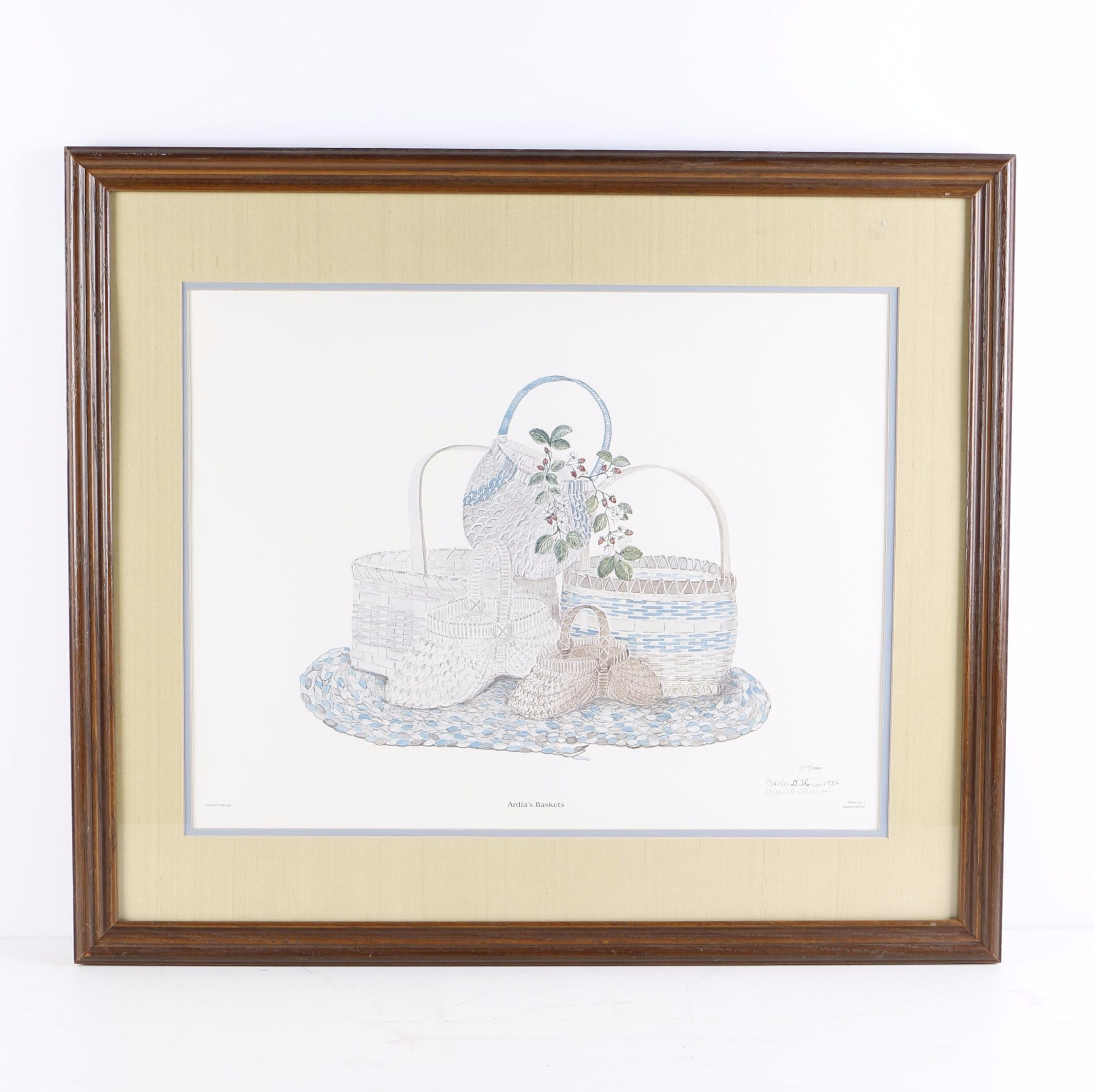 "Marie D. Thomas ""Ardia's Baskets"" Limited Edition Offset Lithograph on Paper"
