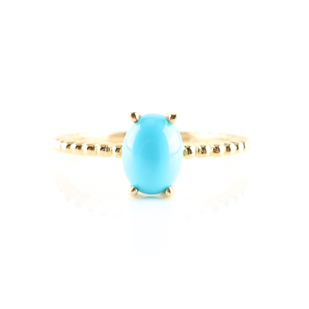 14K Yellow Gold Turquoise Solitaire Ring