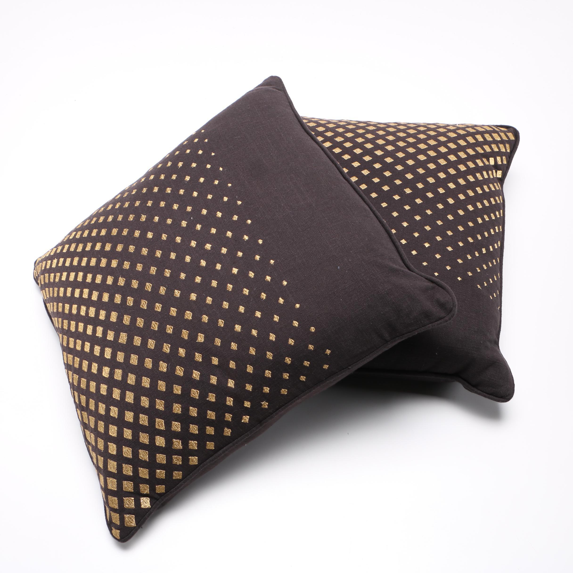 Black and Gold Tone Villa Throw Pillows