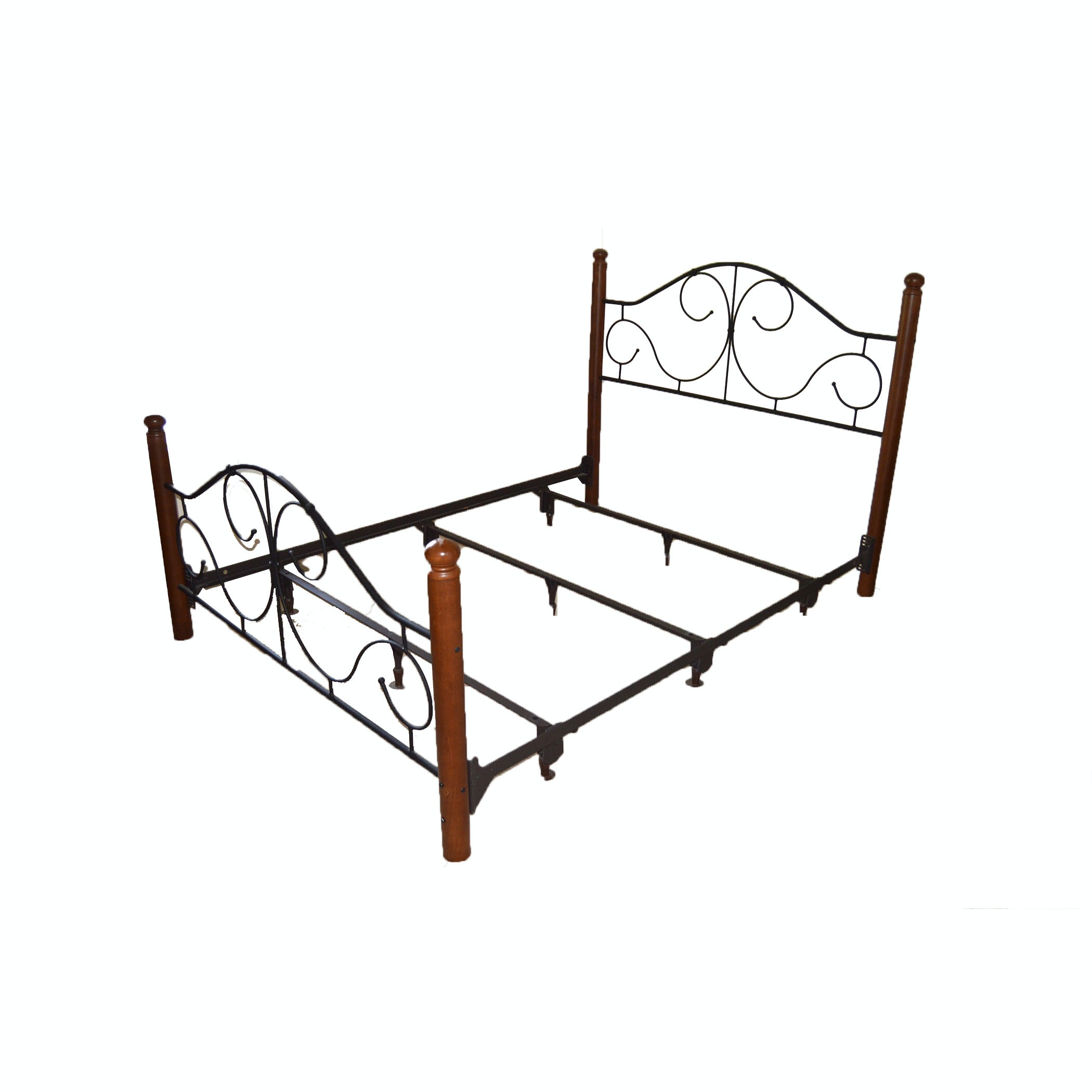 Cherry and Scroll Metal Queen Bed Frame