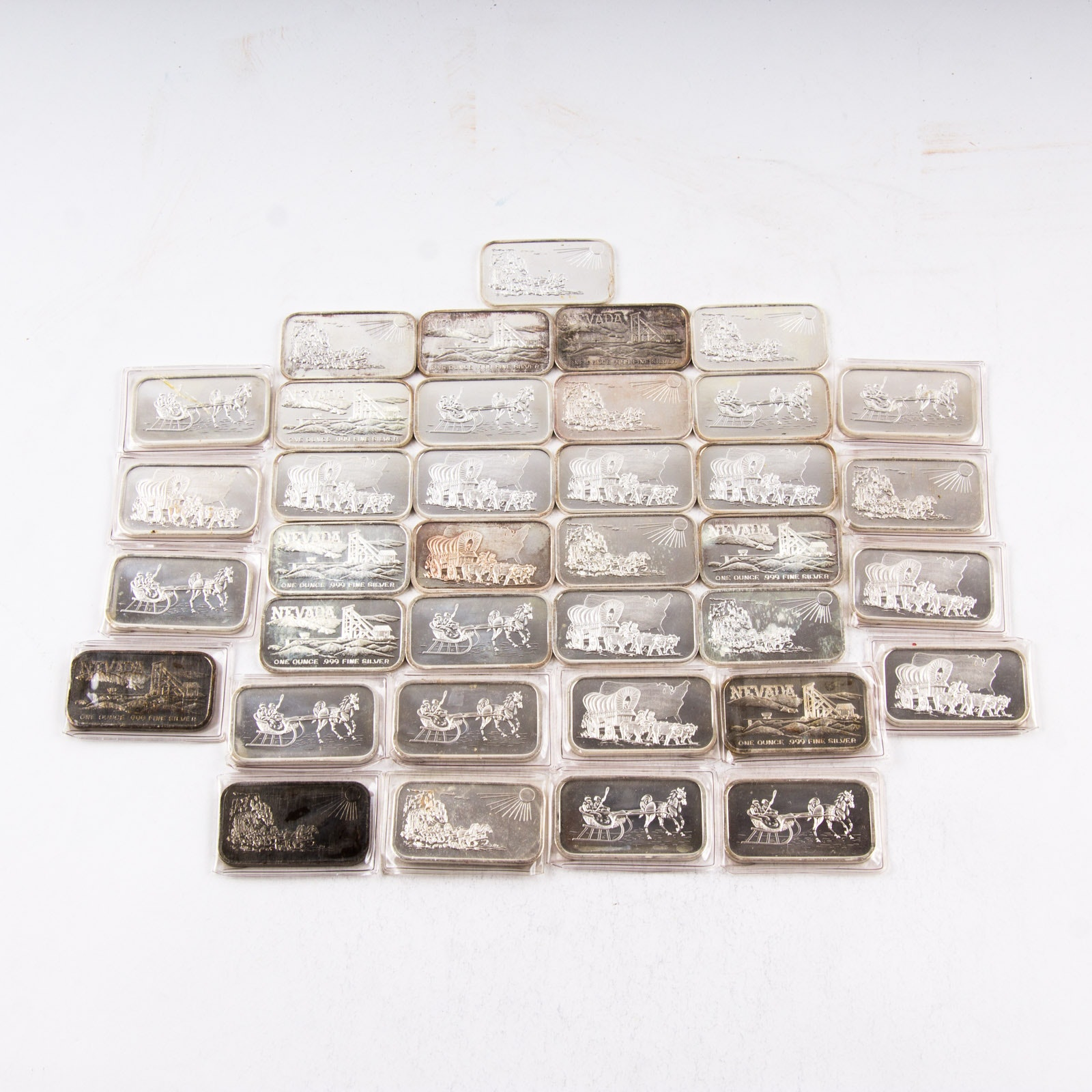 Large Grouping of Silver Towne One Troy Ounce .999 Silver Ingots
