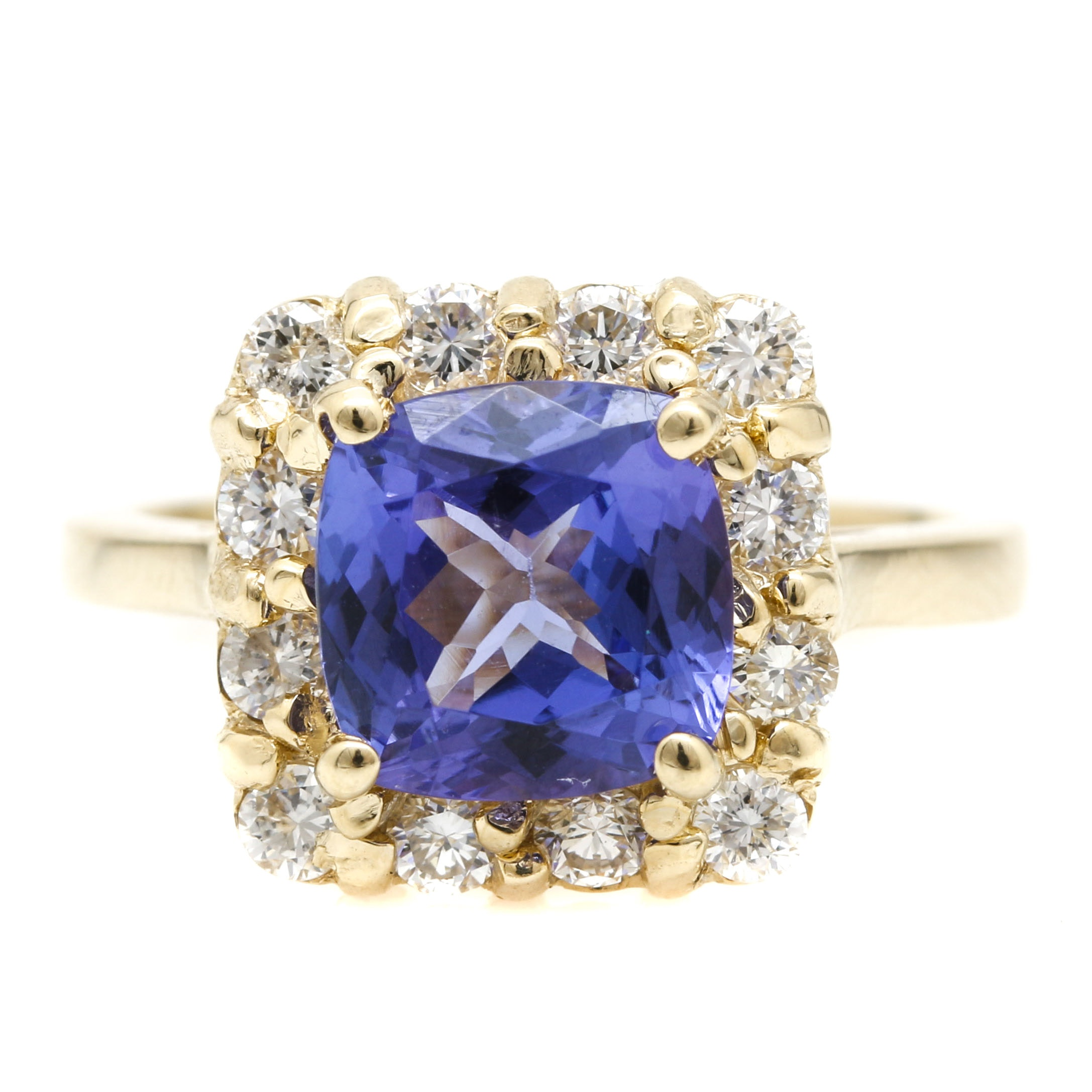 14K Yellow Gold 1.83 CT Tanzanite and Diamond Ring