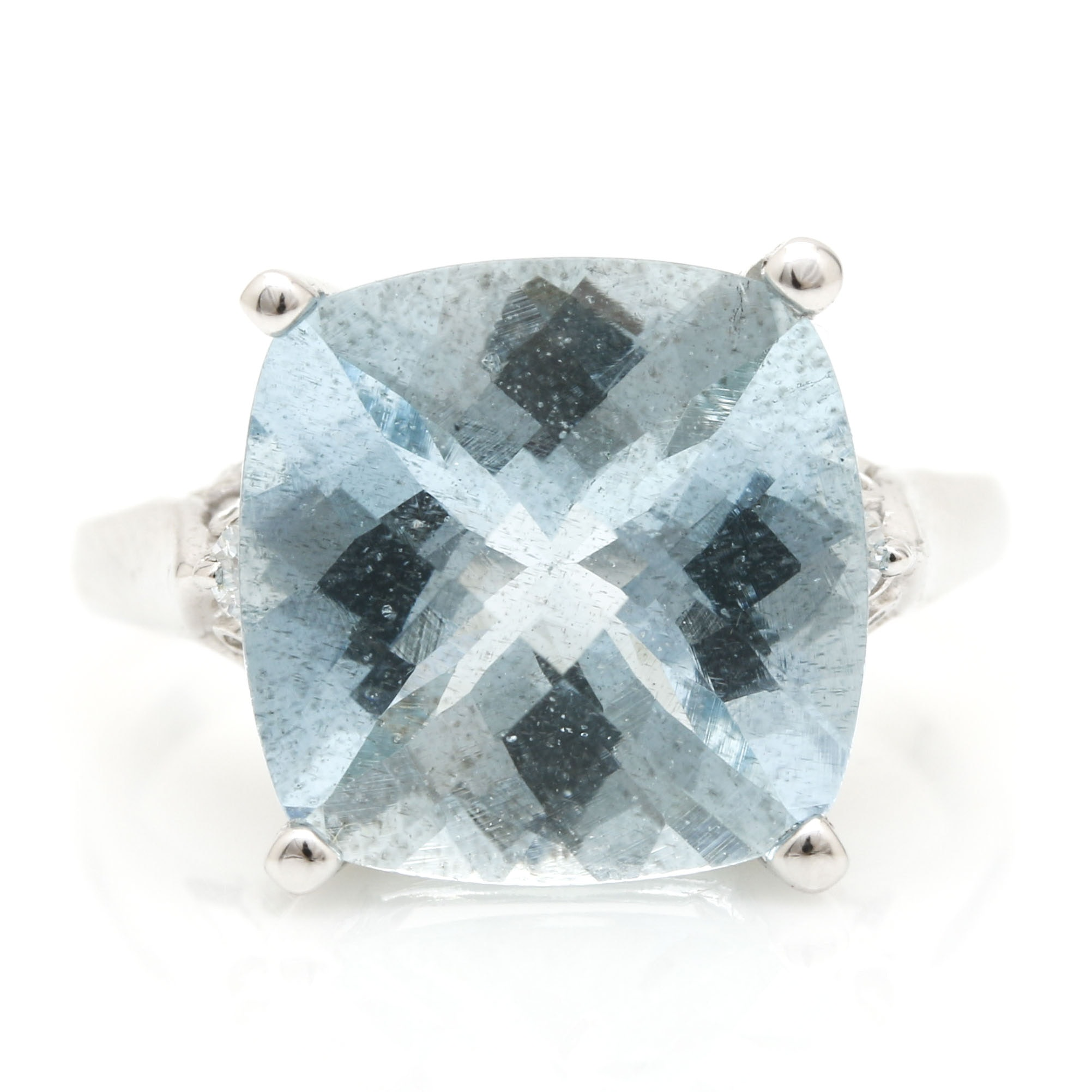 14K White Gold 6.44 CTS Aquamarine and Diamond Ring