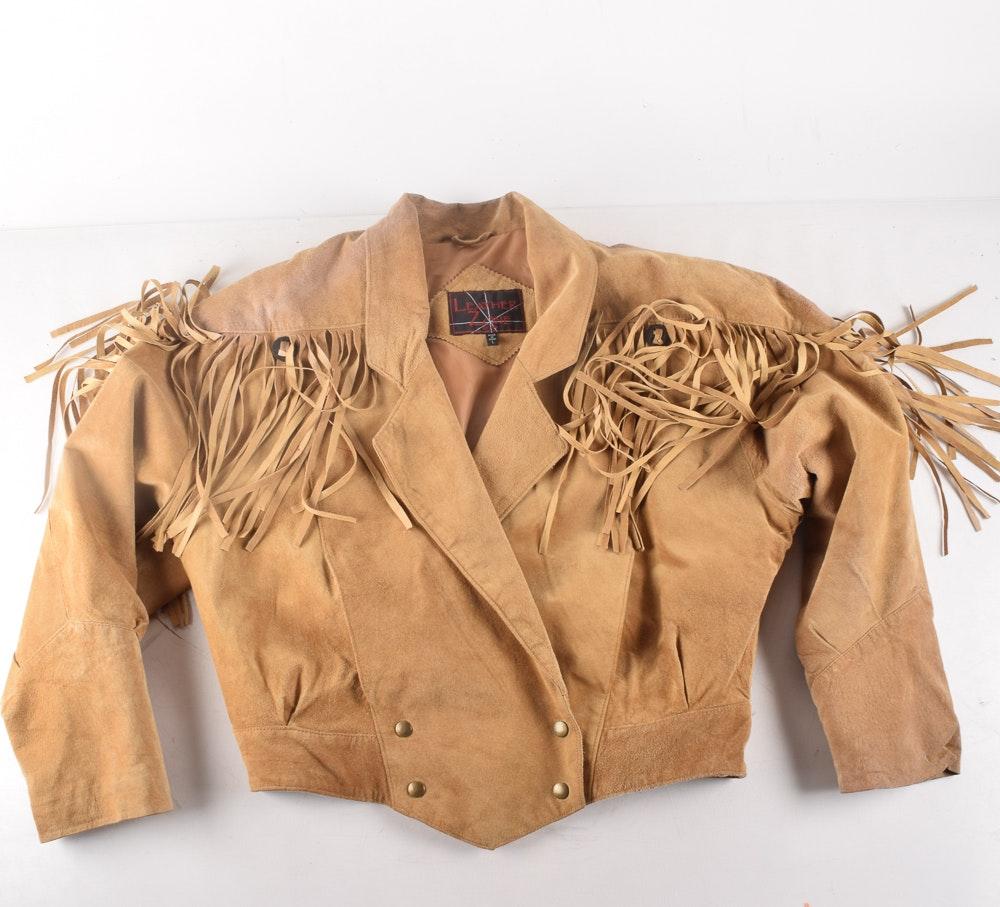"Vintage ""Leather Zone"" Suede Jacket with Fringe"