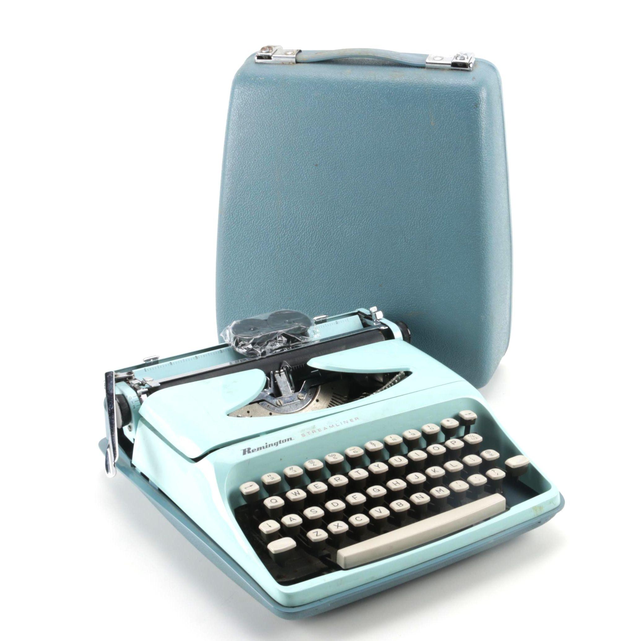 "Vintage Remington ""Streamliner"" Typewriter With Case"