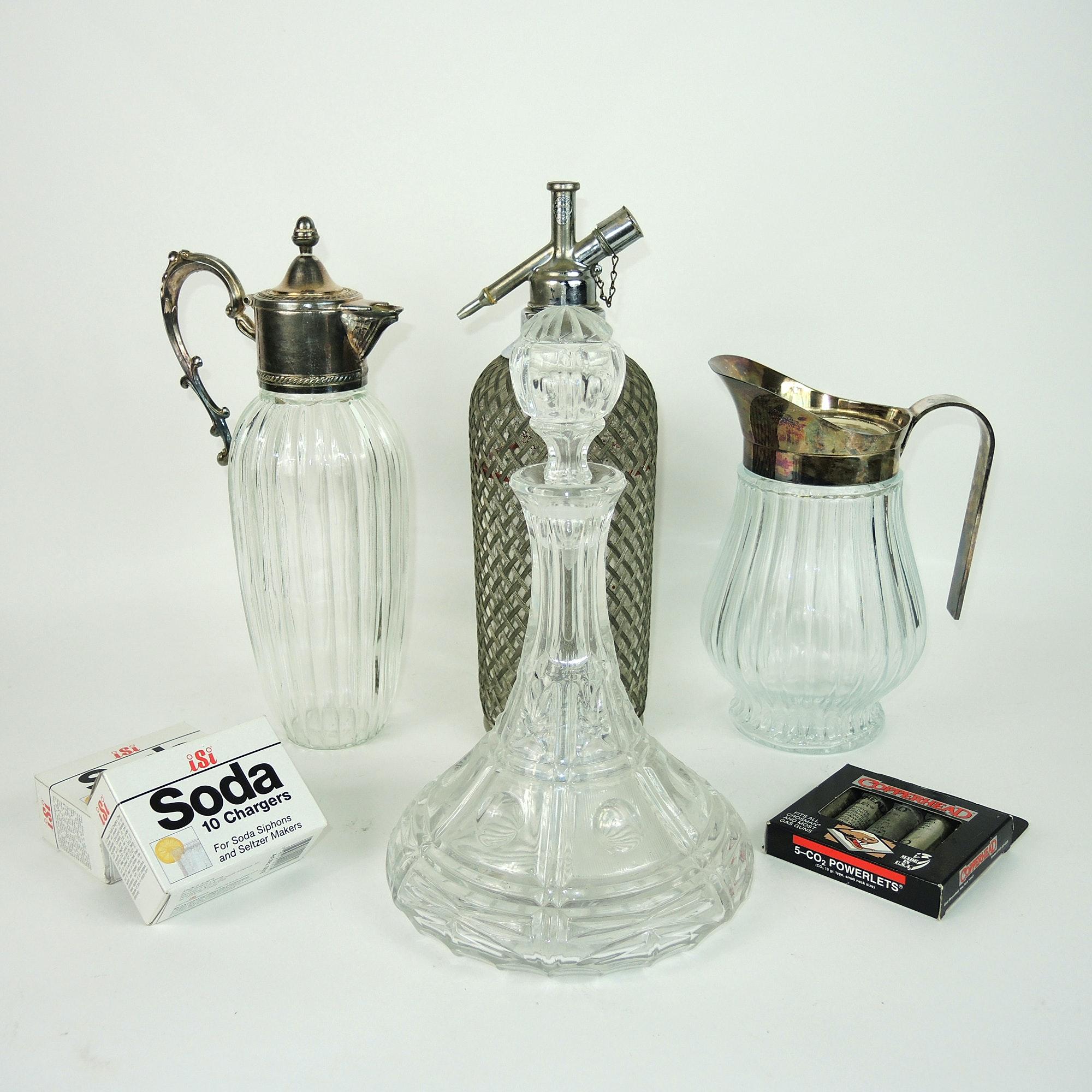 Mid-Century Sparklets Seltzer Bottle, Crystal Decanter and Godinger Pitcher Set