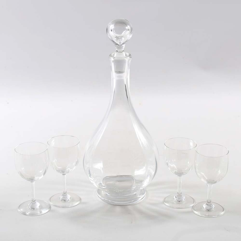 Baccarat Crystal Decanter and Sherry Glasses