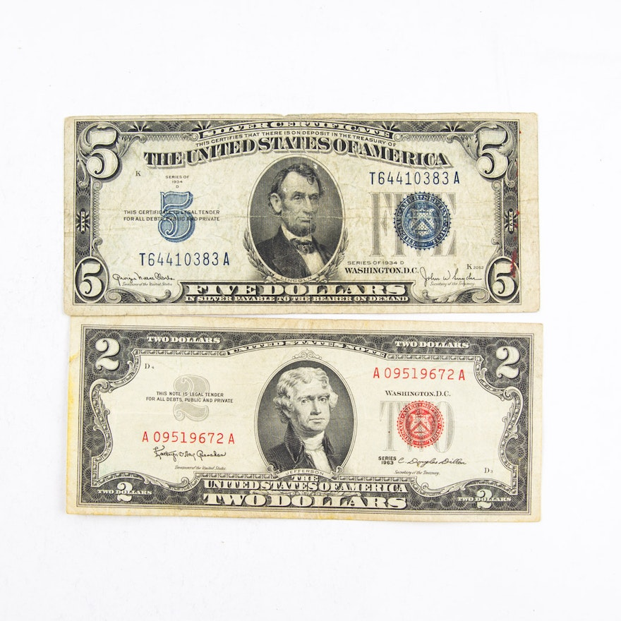 Series 1934D Five Dollar Silver Certificate and Series 1963 Red Seal ...