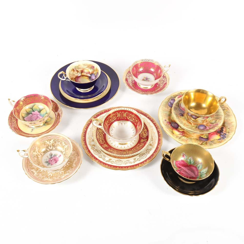 Assorted Fine Teacup and Saucer Sets Featuring Paragon and Ansley