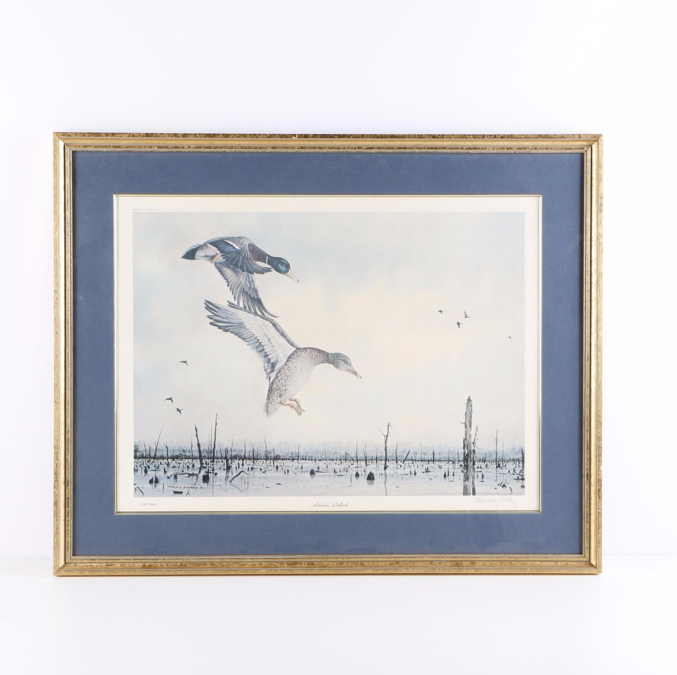 "Terrell Dickey Limited Edition Offset Lithograph ""Arkansas Mallard"""