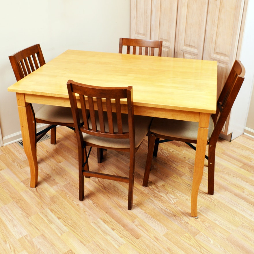 Dining Table and Folding Chairs Set   EBTH