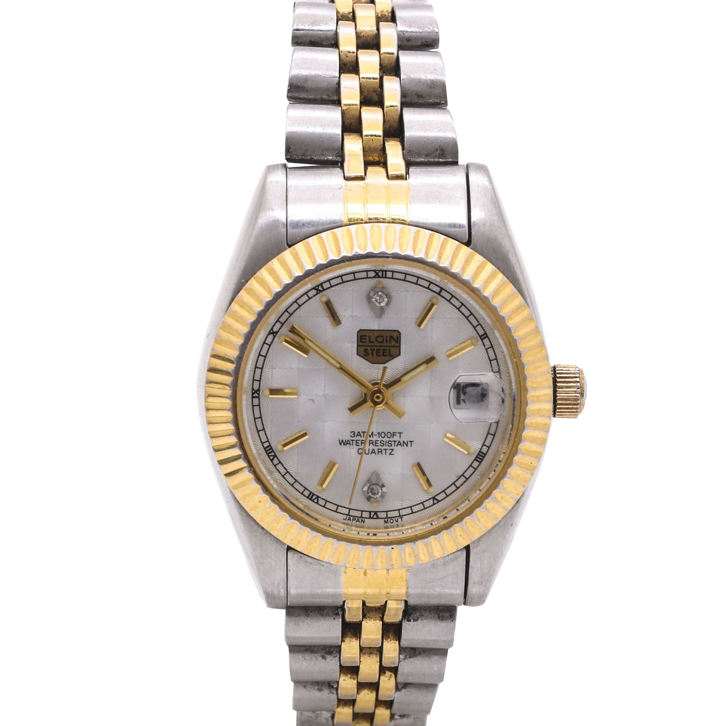 Elgin Two Tone Stainless Steel and Diamond Wristwatch