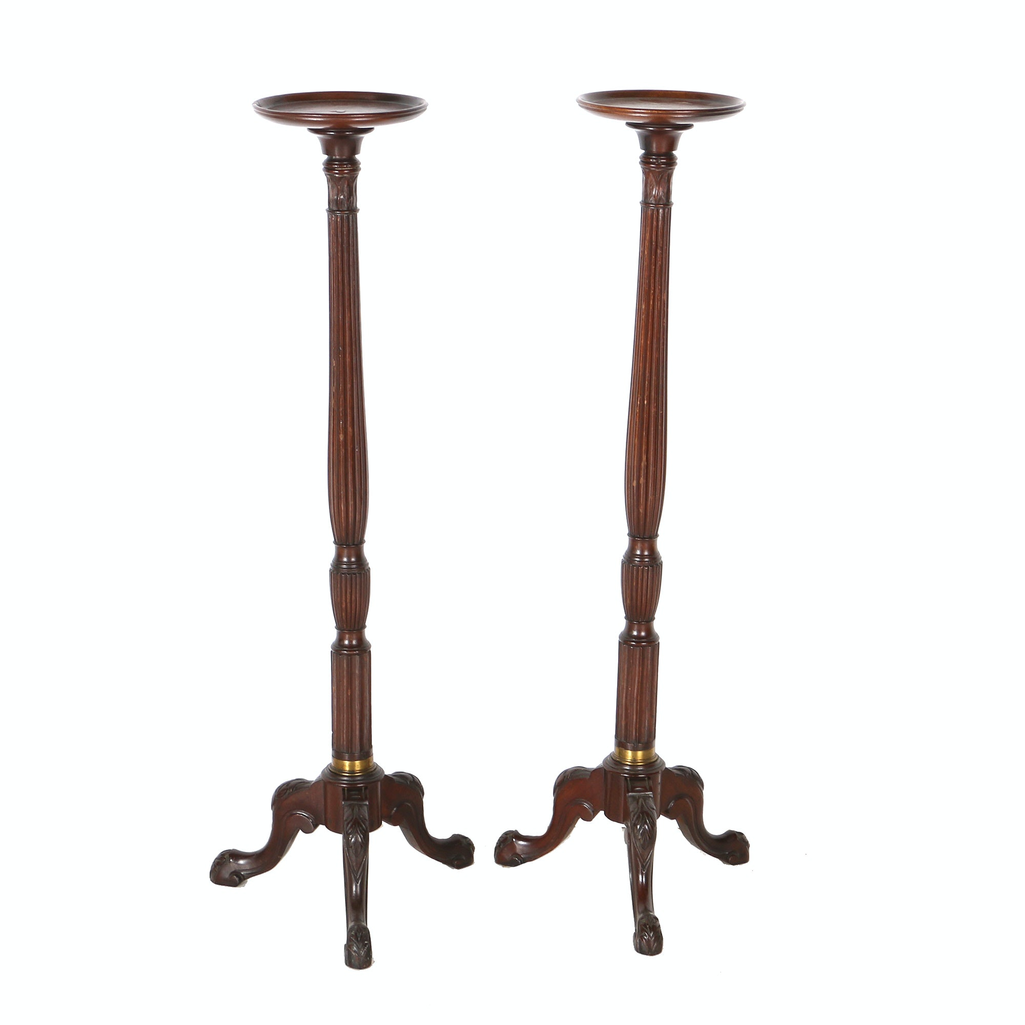 Queen Anne Style Mahogany Plant Stands