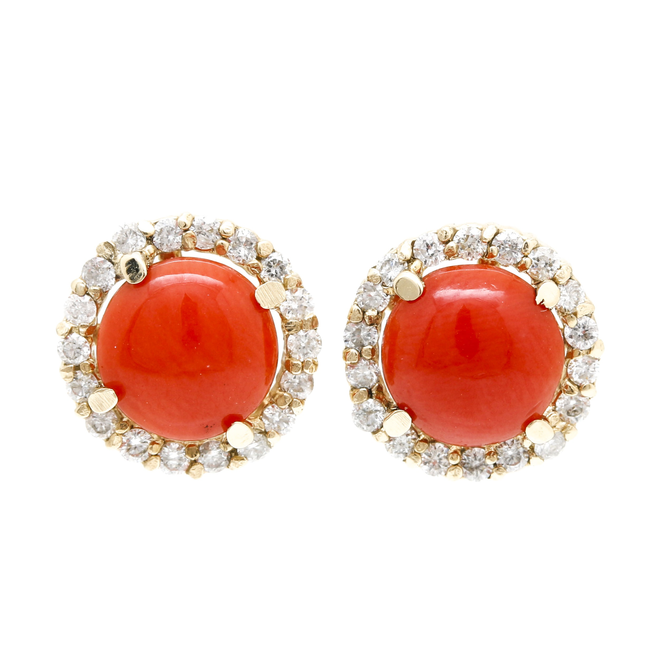 14K Yellow Gold Coral and Diamond Halo Earrings