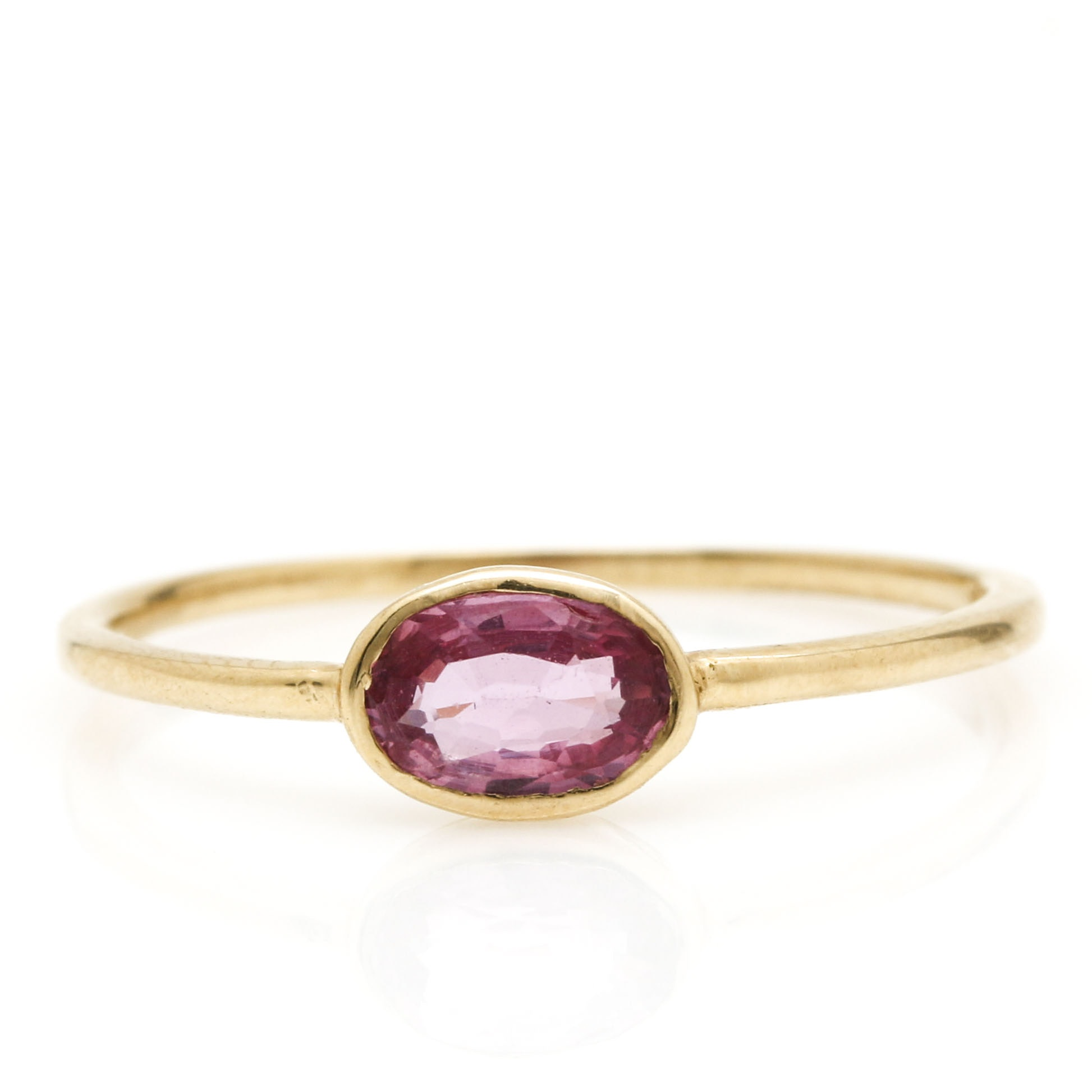 14K Yellow Gold Pink Sapphire Delicate Ring