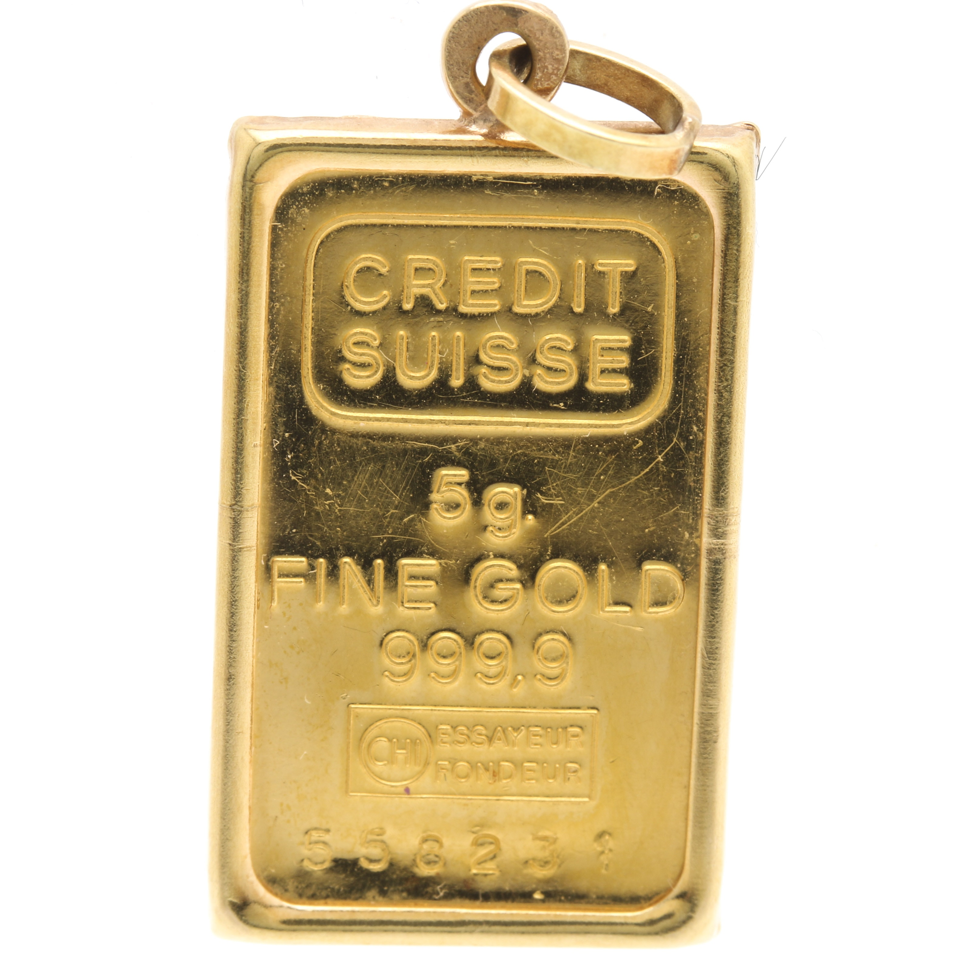 18K, 14K and 999.9 Yellow Gold Suisse Credit Charm