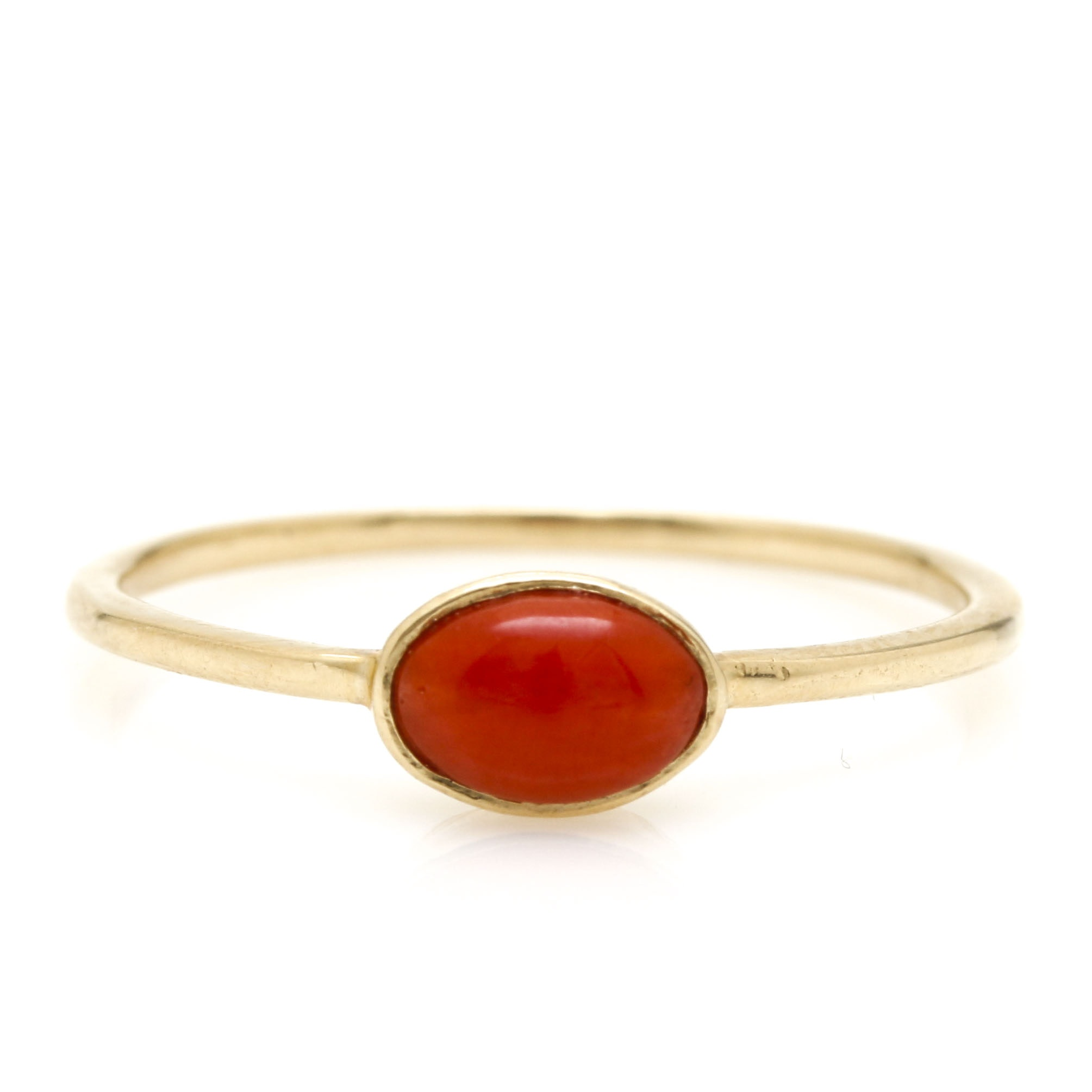14K Yellow Gold Coral Delicate Ring