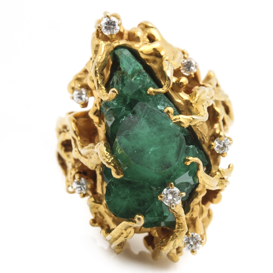 14K Yellow Gold Emeralds and Diamond Ring