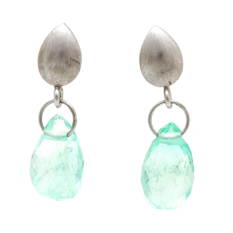 Platinum Emerald Drop Earrings