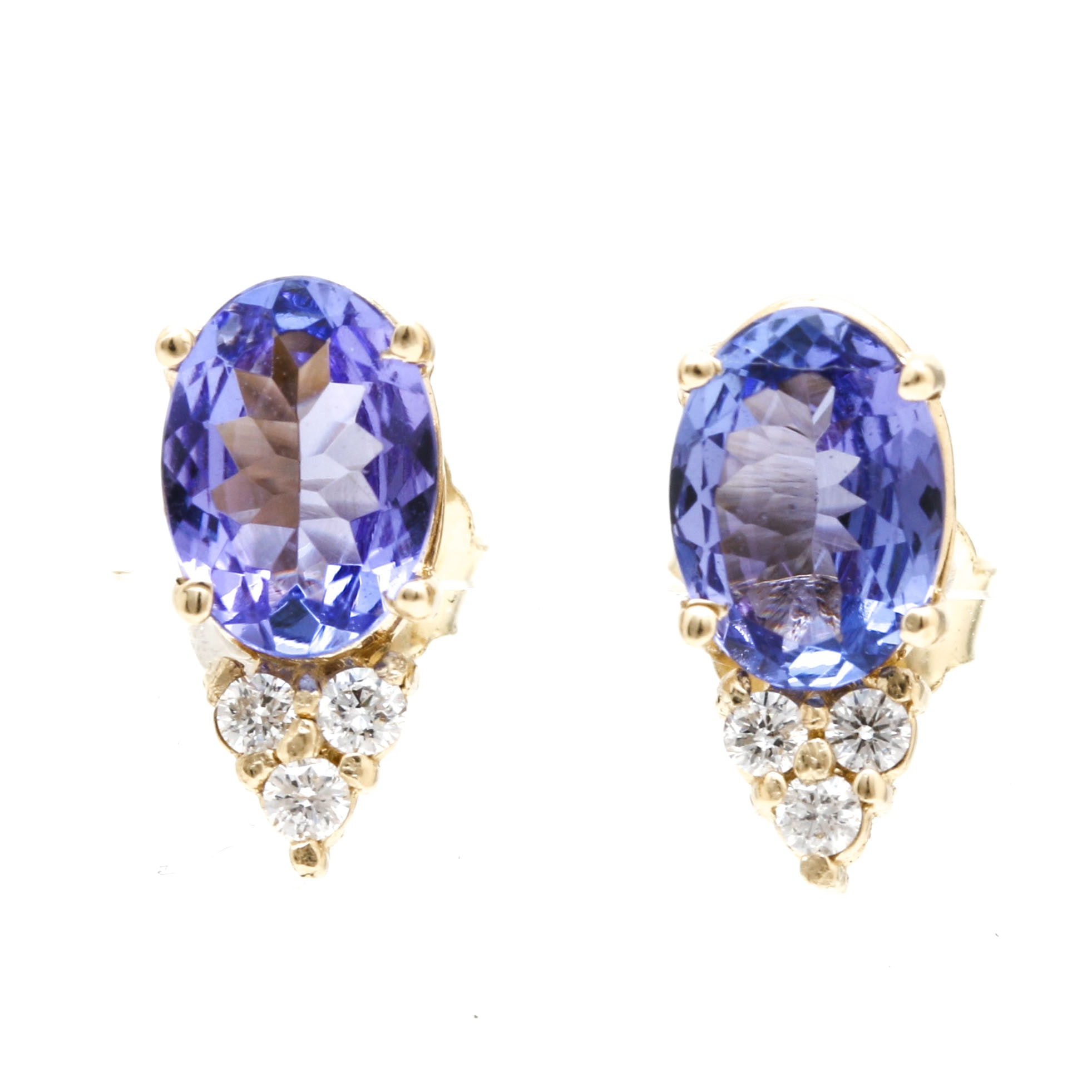 14K Yellow Gold Tanzanite and Diamond Earrings