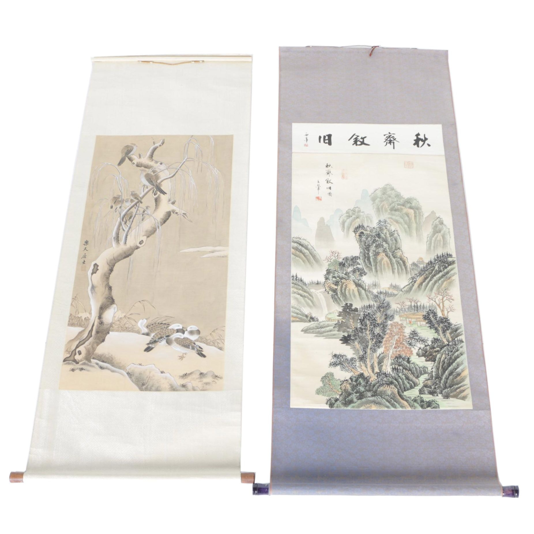 Pair of Japanese Hanging Scrolls on Paper and Silk