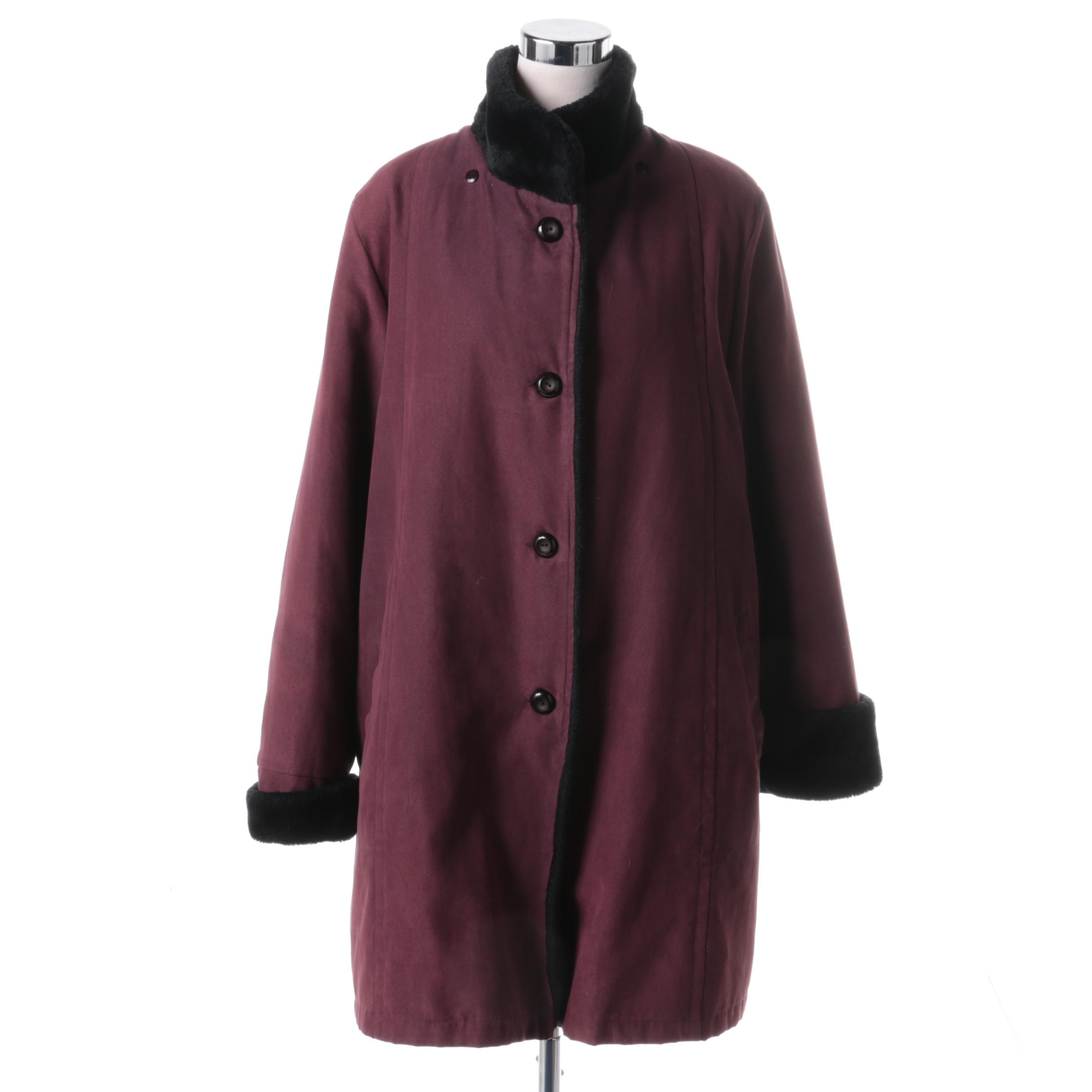 Regent Park Outerwear Plum Winter Coat with Faux Fur Trim
