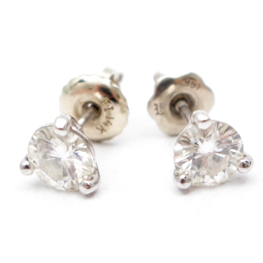 14K Gold Moissanite Earrings