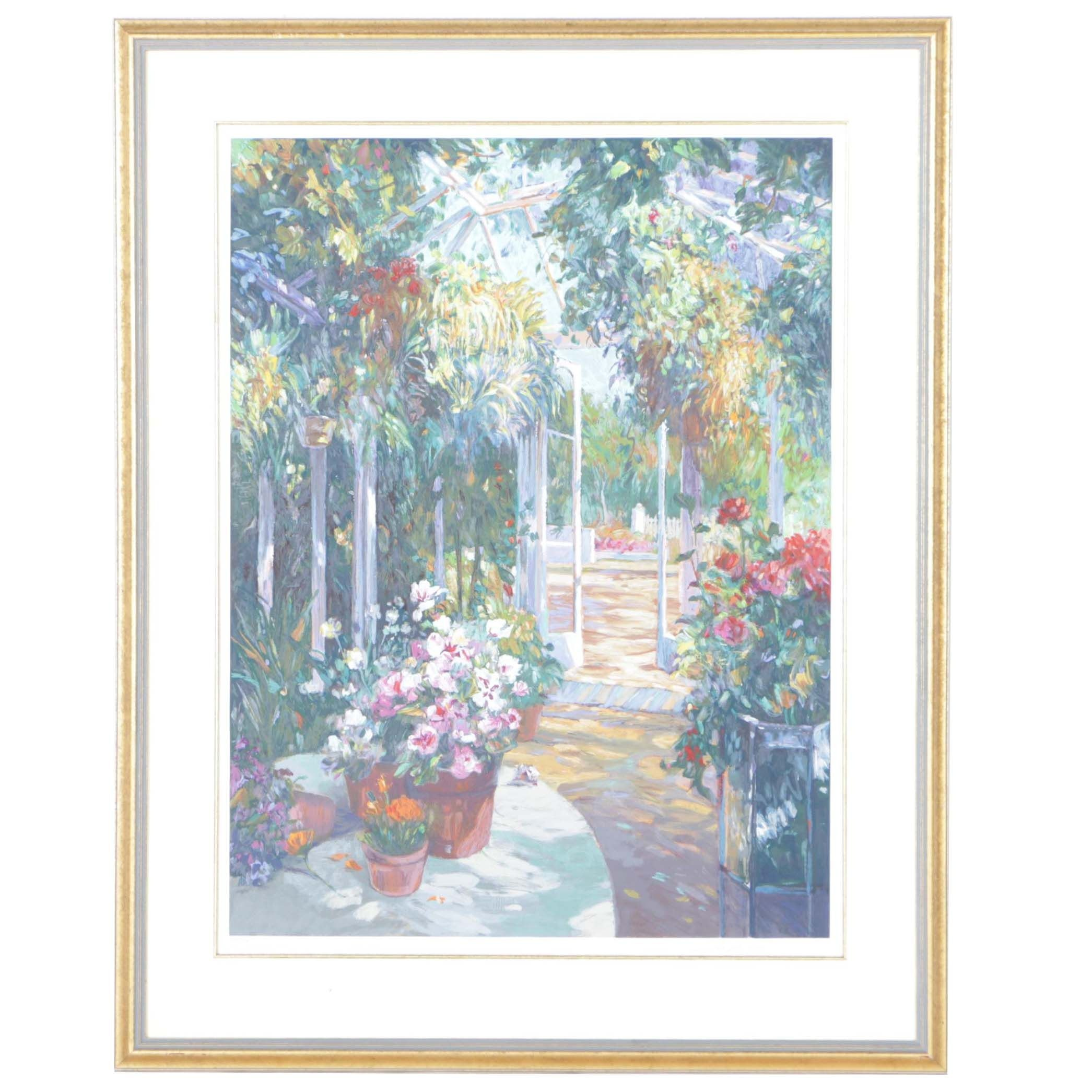 "Henri Plisson Limited Edition Serigraph ""Inside The Greenhouse"""