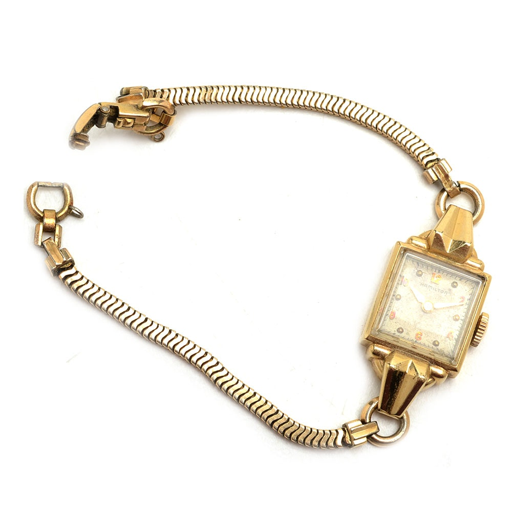 Vintage 14K Yellow Gold Hamilton Wristwatch