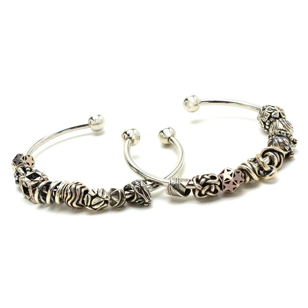 Trollbeads Sterling Charm Beads on Silver Tone Bracelets