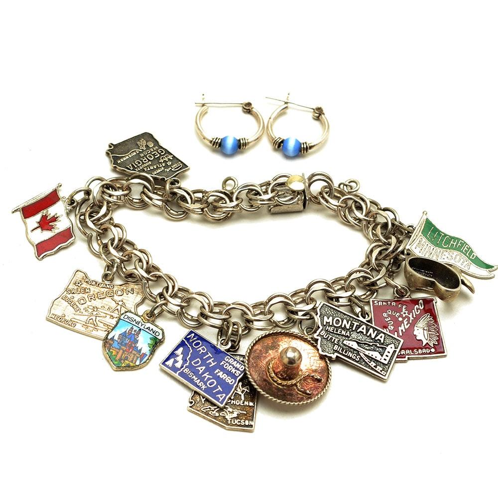 Vintage Krementz Sterling Charm Bracelet and Sterling Earrings