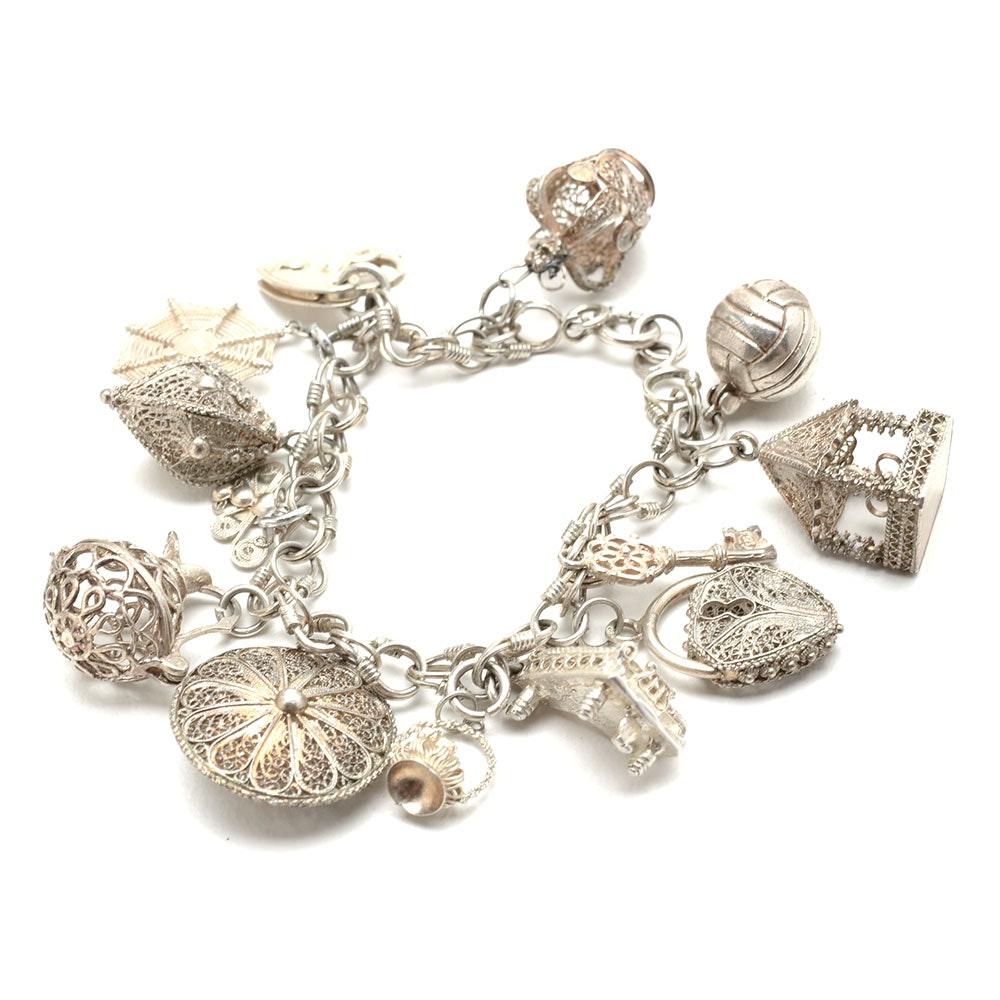 Vintage Sterling Bracelet with Filigree Charms