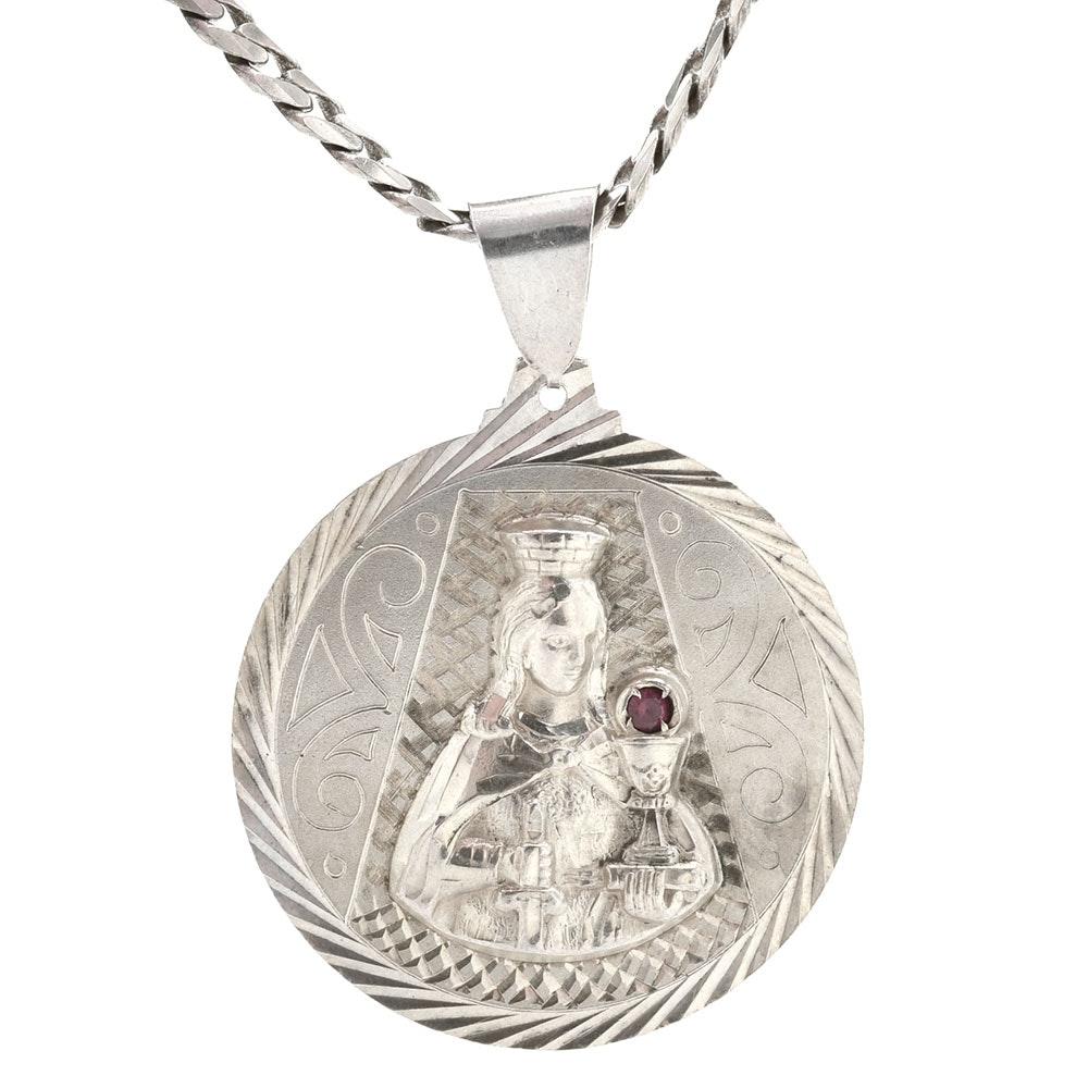 Sterling St. Barbara Medallion on Sterling Chain