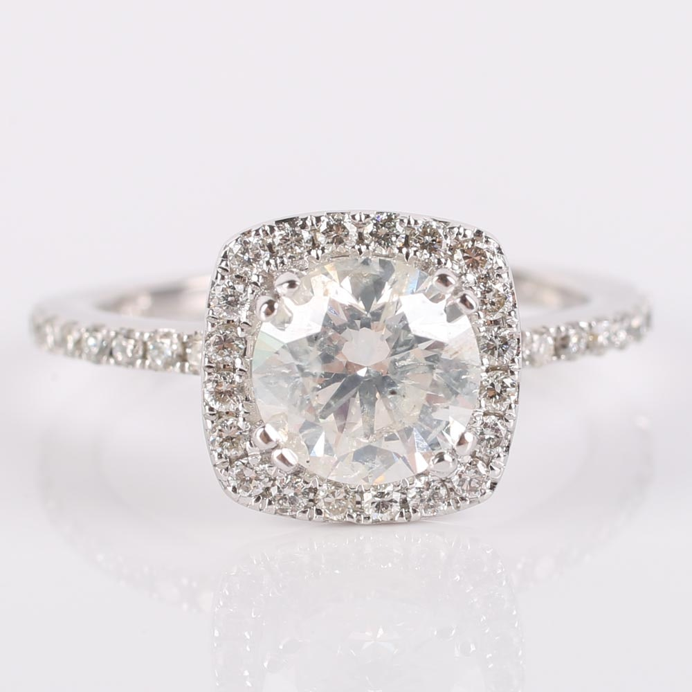 14K White Gold Round Brilliant Diamond Halo Ring