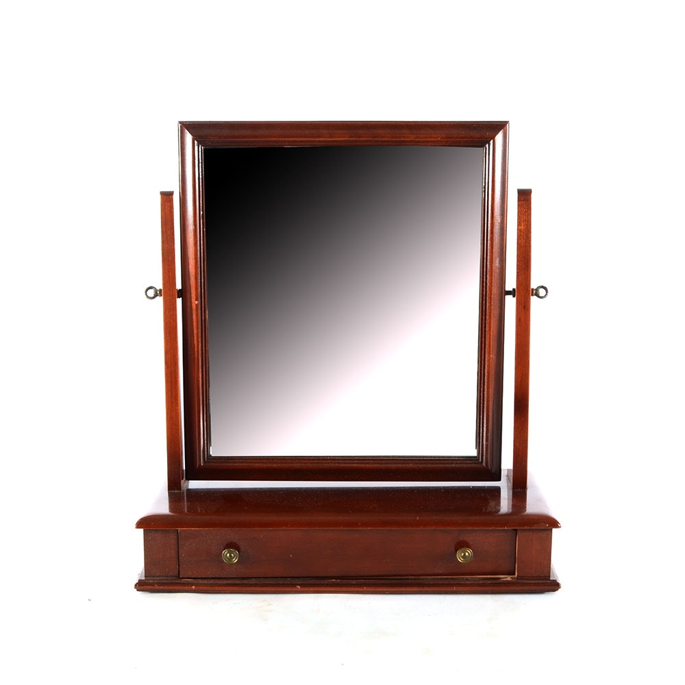 Cherry Shaving Mirror with Drawer