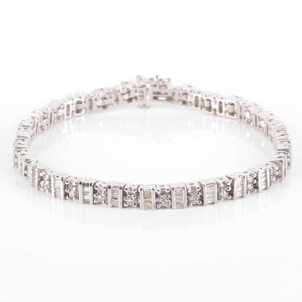 14K White Gold Baguette and Round Diamond Tennis Bracelet